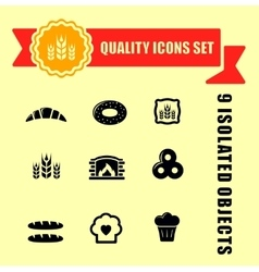 Bakery products icons with red tape vector
