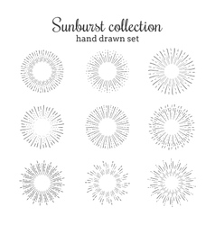 Sunburst collection retro rays frames vector