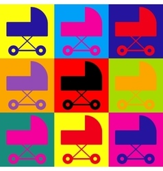 Pram sign pop-art style icons set vector