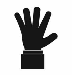 Hand showing five fingers icon simple style vector
