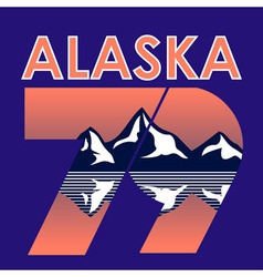 Alaska landscape 1979 t-shirt typography vector