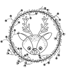Animal drawing within wreath icon vector
