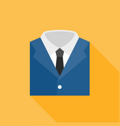 Blue suit with white shirt and neck tie icon vector