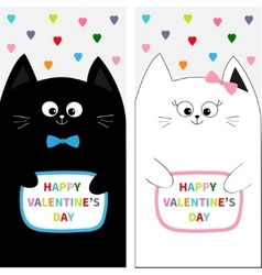 Cat family couple with bow Flyer poster set Cute vector image vector image