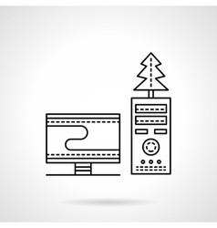 Christmas workplace black flat line icon vector image
