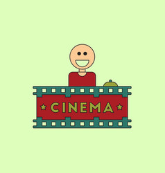 Cinema ticket office in flat vector