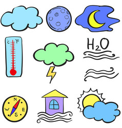 Collection of weather theme doodles vector