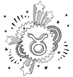 doodle pop astrology taurus vector image