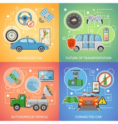 Driverless car autonomous vehicle 2x2 icons set vector