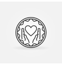 Hands holding heart badge vector