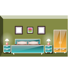 interior space bedroom with a bed vector image