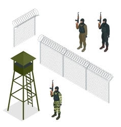 Isometric security with a barbed wire fence vector