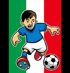 italia soccer player with flag background vector image vector image