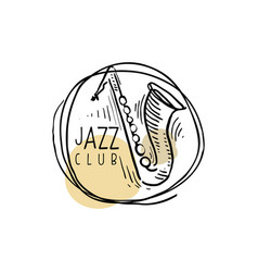 Jazz club logo vintage music label with saxophone vector
