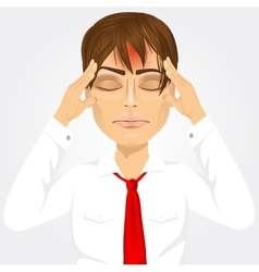 Man touching his temples suffering a headache vector