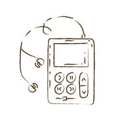 Monochrome hand drawn silhouette of portable music vector