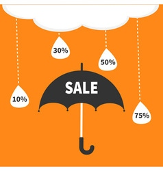 Monsoon season offer black umbrella cloud with vector