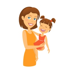 Mother with daughter happy family vector