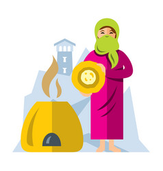 Muslim arab woman baking bread flat style vector