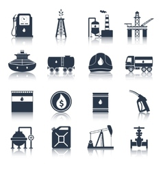 Oil industry icons black vector