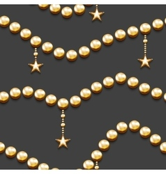 Seamless pattern with golden beads and stars vector image