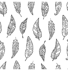 Seamless pattern with monochrome hand drawn ornate vector