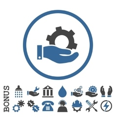 Service Flat Rounded Icon With Bonus vector image
