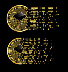 Set of crypto currency stratis golden symbols vector