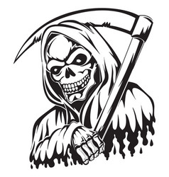 Tattoo of a grim reaper holding a scythe vintage vector