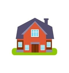 Terracota family cottage suburban house exterior vector