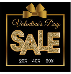 Valentines day sale gold gift box black backgroun vector