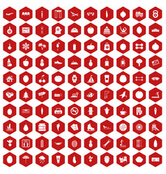 100 wellness icons hexagon red vector