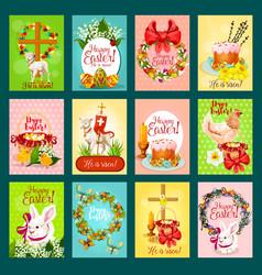 Easter greeting card banner poster set design vector
