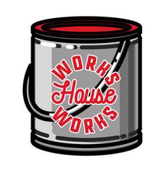Color vintage house works emblem vector