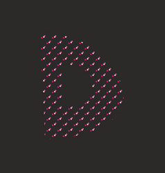 D dotted alphabet letter isolated on black vector