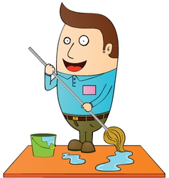 Man cleaning vector image