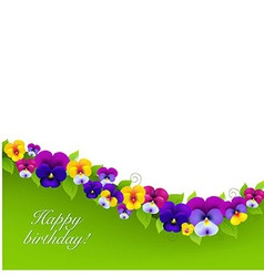 Background with pansies and leaf vector