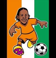 Ivory coast soccer player with flag background vector