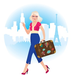 Young blonde girl traveling in france vector