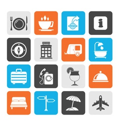 Silhouette traveling and vacation icons vector