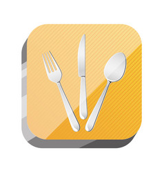 3d button cutlery utensils tool vector image