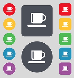 Coffee cup icon sign a set of 12 colored buttons vector