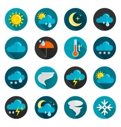 Weather flat icon set vector