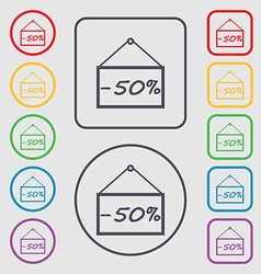 50 discount icon sign symbols on the round and vector
