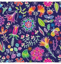 Floral cartoon seamless pattern vector
