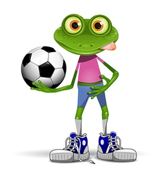 Frog soccer player vector