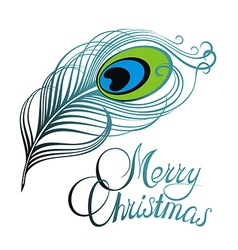 Merry christmas card with feather vector