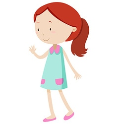 Little girl waving her hand vector