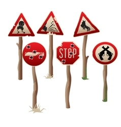 Set of six riddled road signs in western style vector image