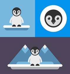 A set of three in blue colors of cute pinguin bird vector